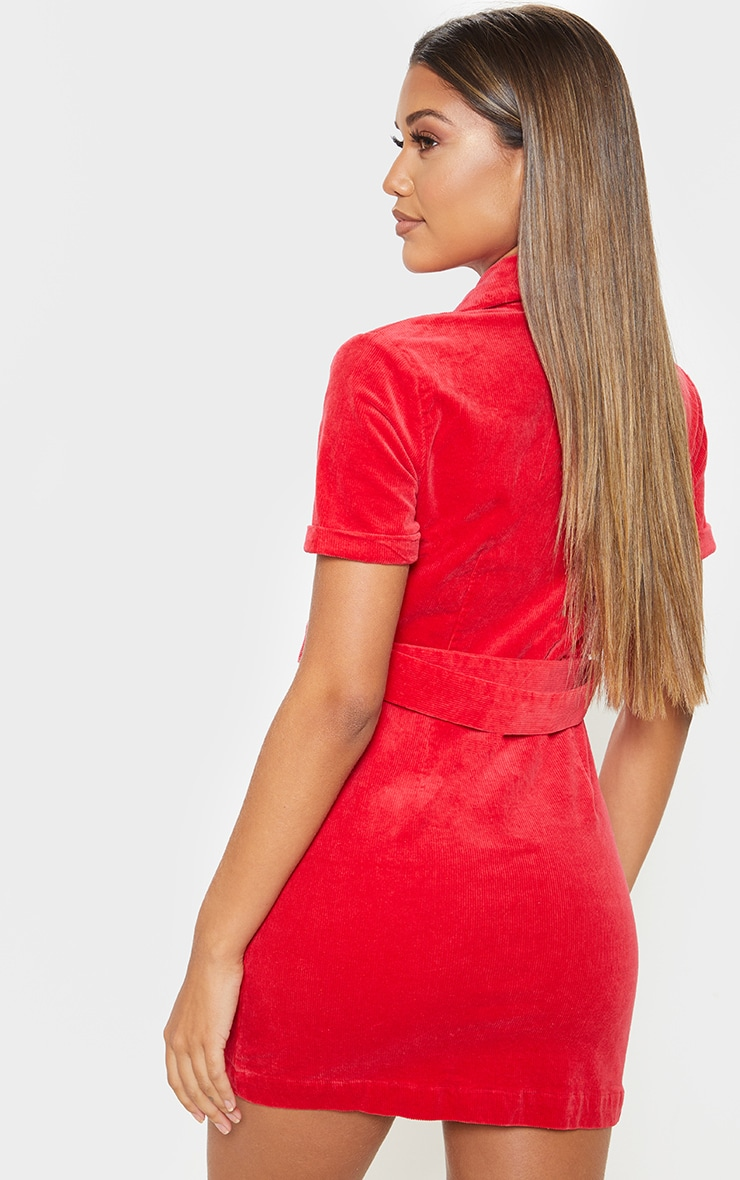 Red Cord Zip Front Belted Dress 2