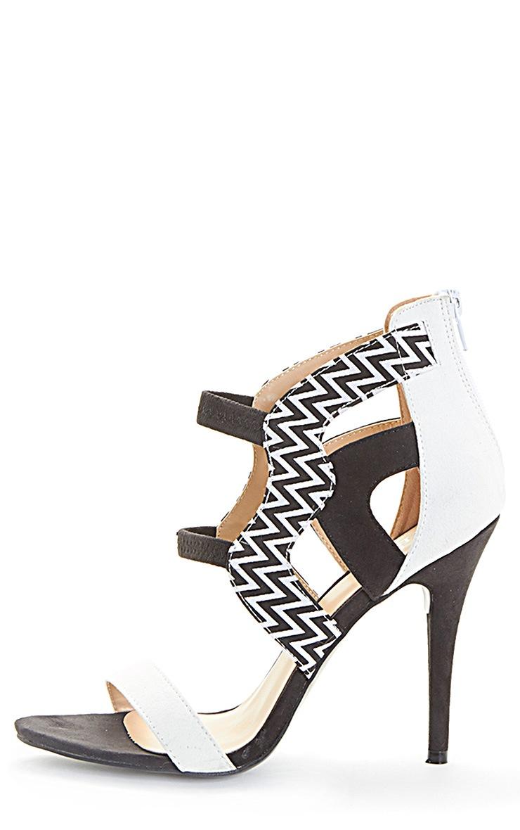 Coni Monochrome Aztec Contrast Suedette Heeled Sandal 1
