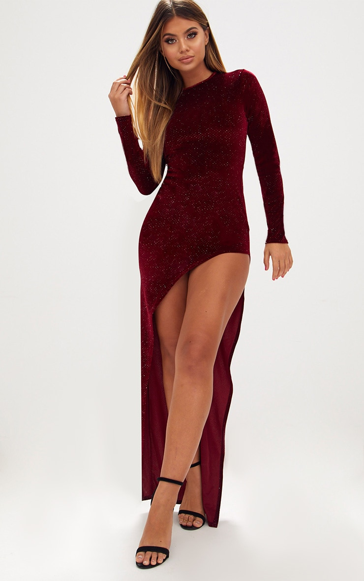 Red Diamante Long Sleeve Extreme Asymmetric Maxi Dress 1