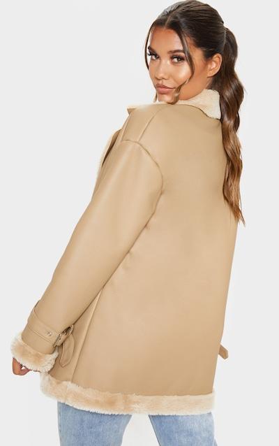 Camel PU Fur Trim Vintage Style Coat