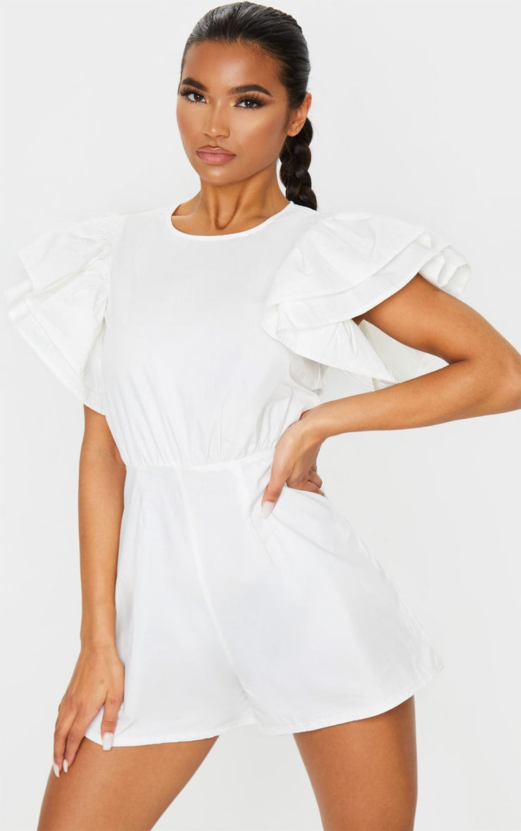 White Frill Sleeve Woven Playsuit 1