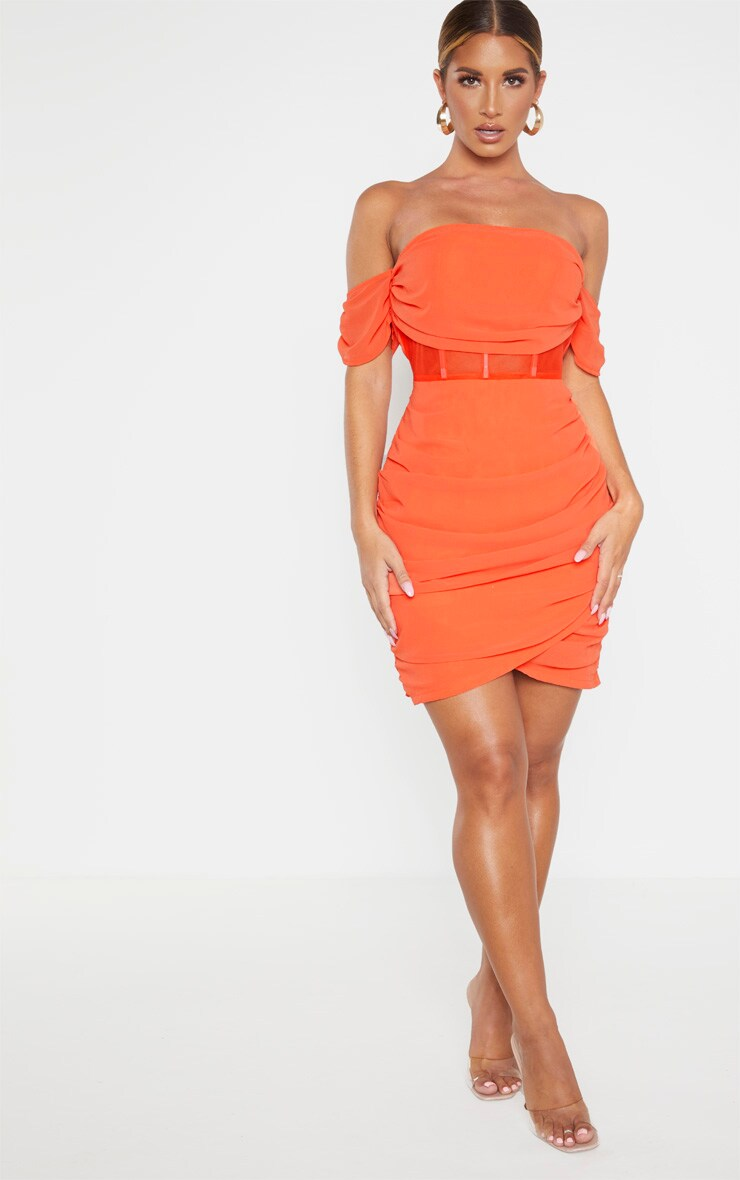 Orange Chiffon Panel Insert Drape Bodycon Dress 4