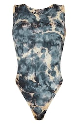 PRETTYLITTLETHING Shape Charcoal Tie Dye Thick Rib Bodysuit 5
