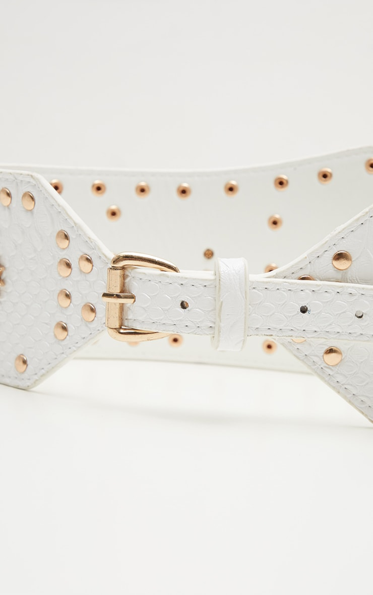 White Gold Studded and Star Statement Belt 3