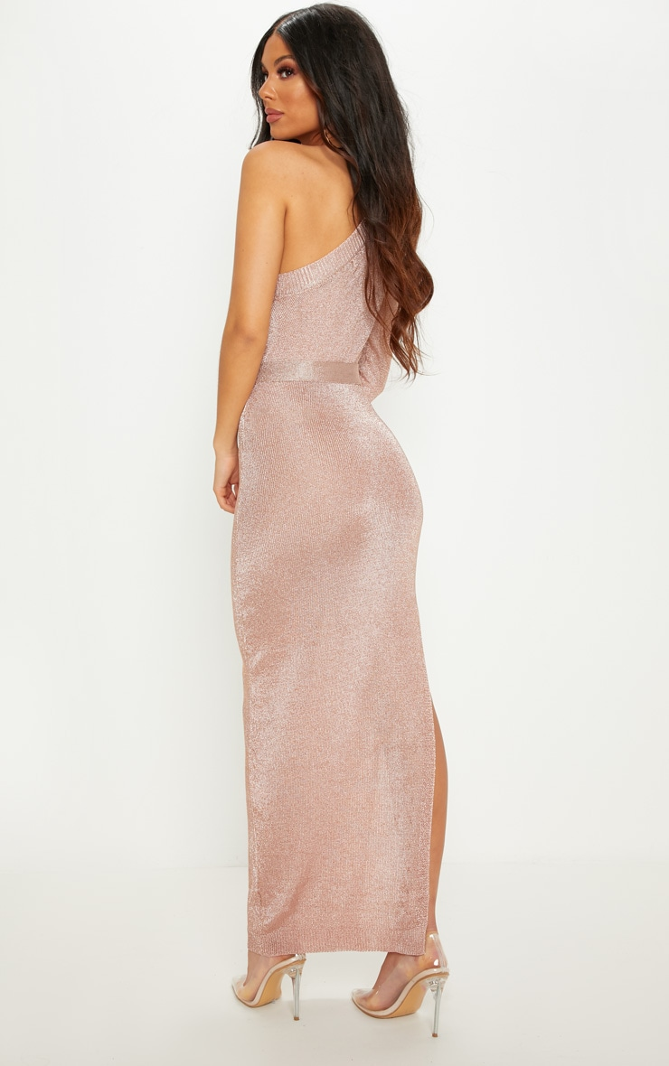 Rose Gold One Shoulder Metallic Knitted Dress 2