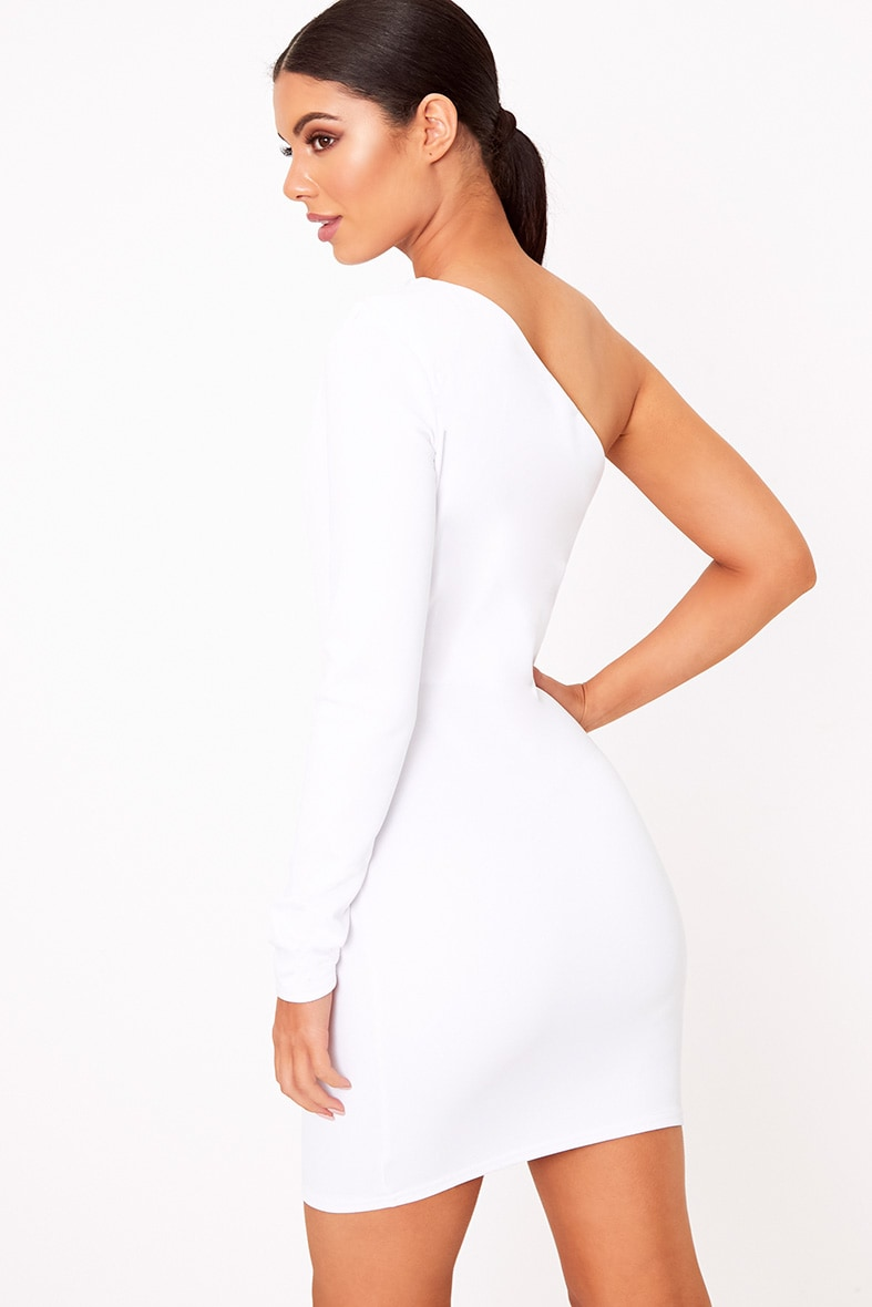 White One Shoulder Ruched Bodycon Dress  2