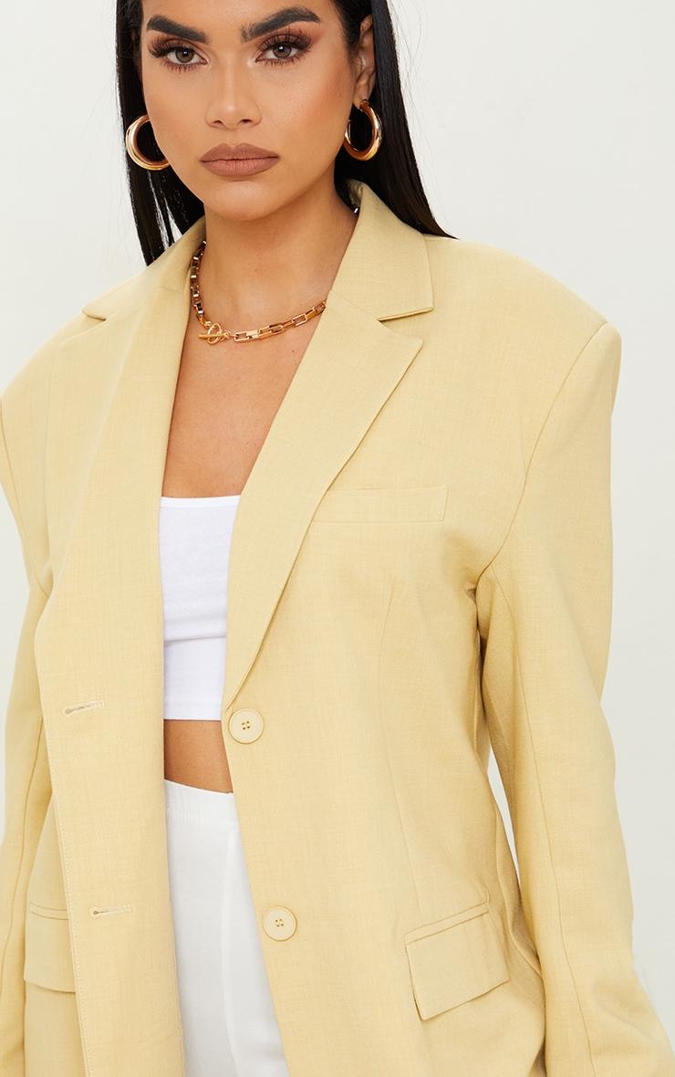 Yellow Premium Woven Shoulder Padded Grandad Blazer 4