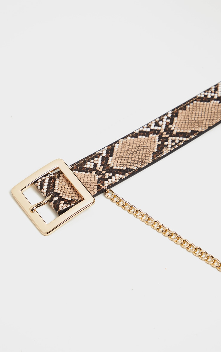 Natural Snake Belt With Gold Chain 3