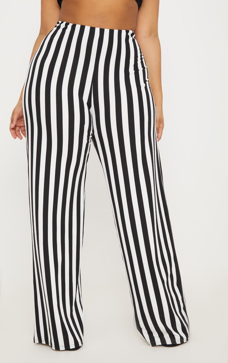 Plus Black High Waisted Crepe Striped Wide Leg Trousers 2