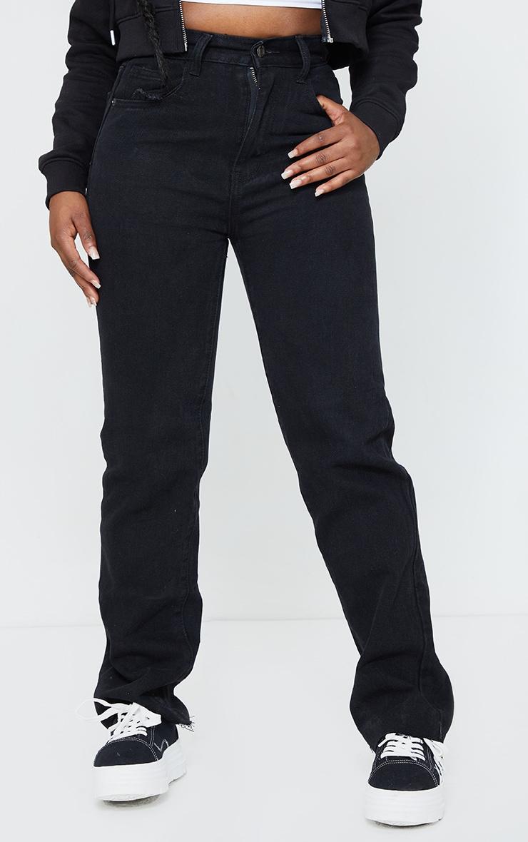 PRETTYLITTLETHING Petite Washed Black Long Leg Straight Jean 2