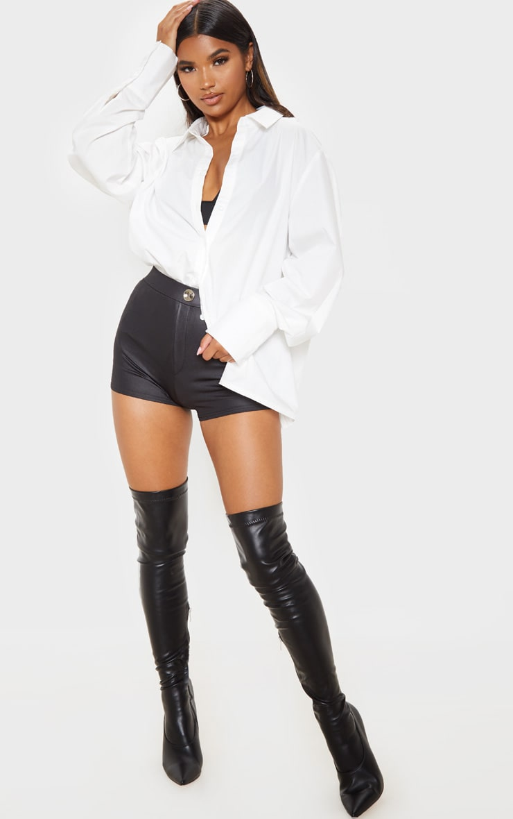 Black Wet Look Button Detail Hot Pants 5
