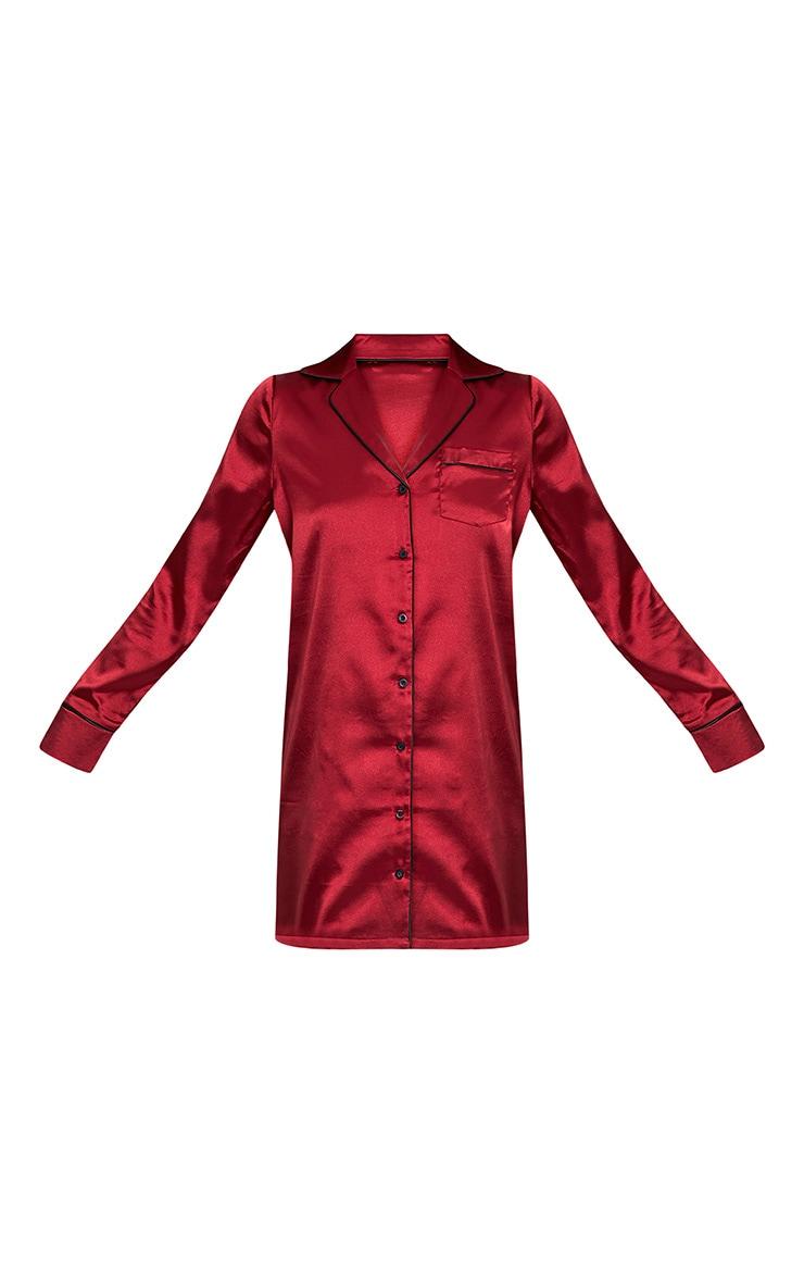Maddison robe chemise bordeaux en satin 3