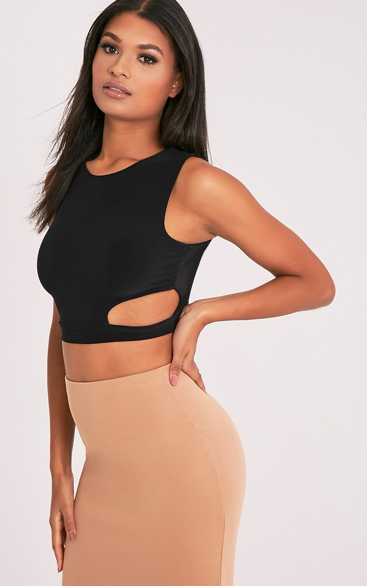 Mixie Black Slinky Cut Out Sleeveless Crop Top 4