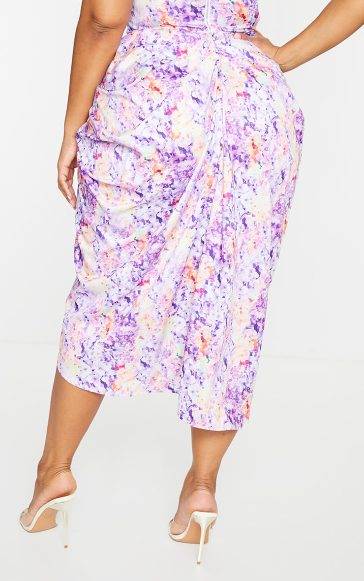 Plus Lilac Ruched Side Midi Skirt 3