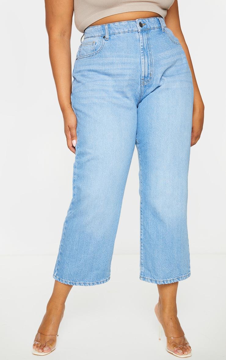 Plus Light Wash Wide Leg Denim Cropped Jeans 2