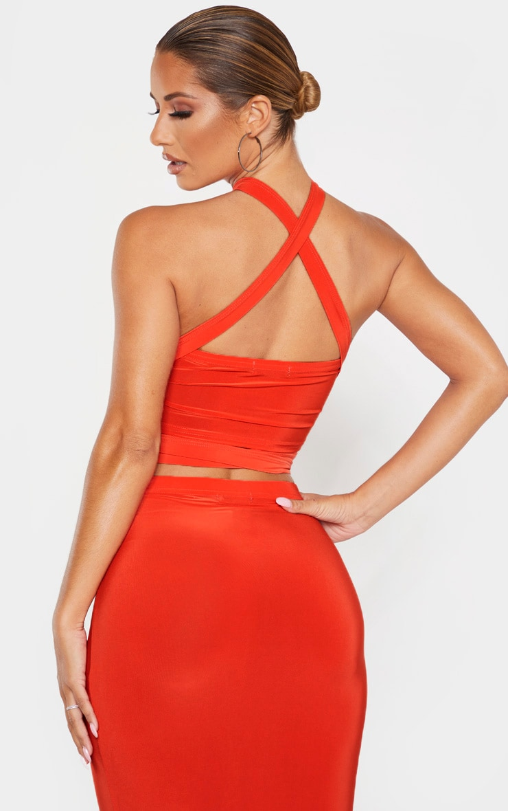 Bright Orange Slinky Tie Detail Bandeau Top 2