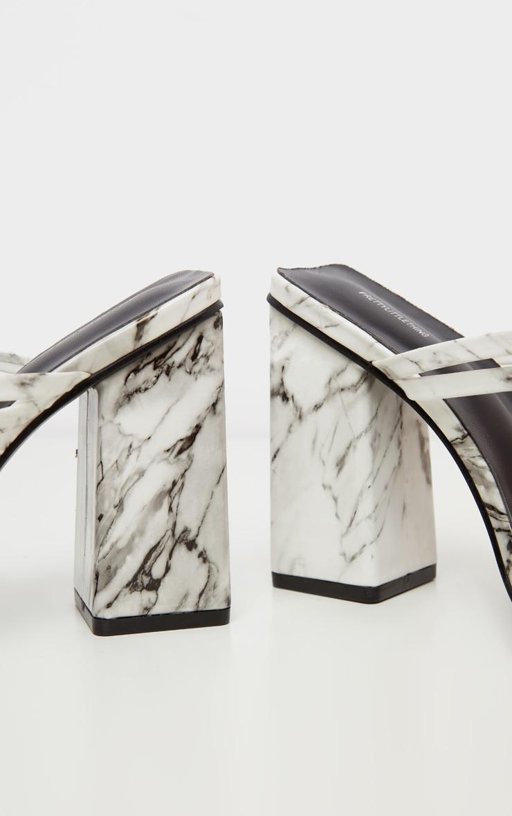 Marble Block Heel Strappy Mule Sandal 4