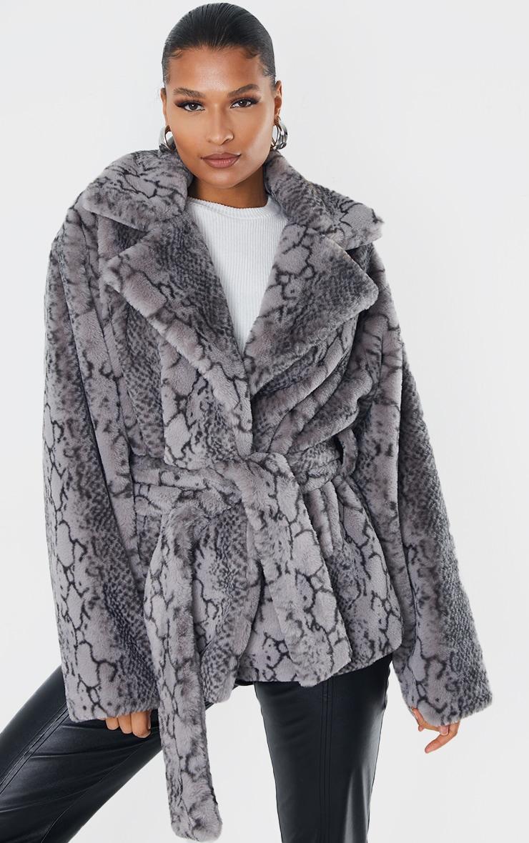 Grey Snake Print Faux Fur Coat 3