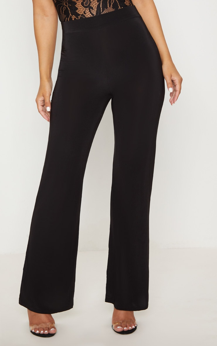 Petite Kyleigh Black Slinky Straight Leg Pants 2