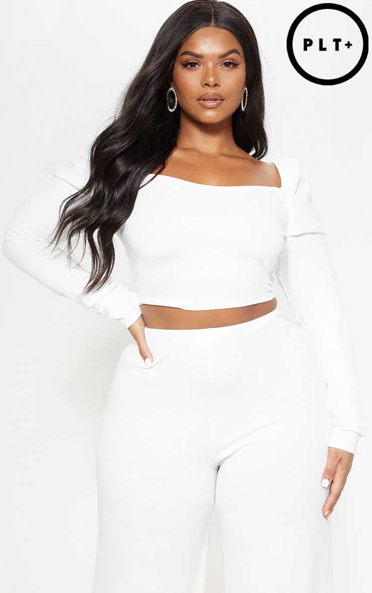 Plus White Puff Long Sleeve Crop Top by Prettylittlething