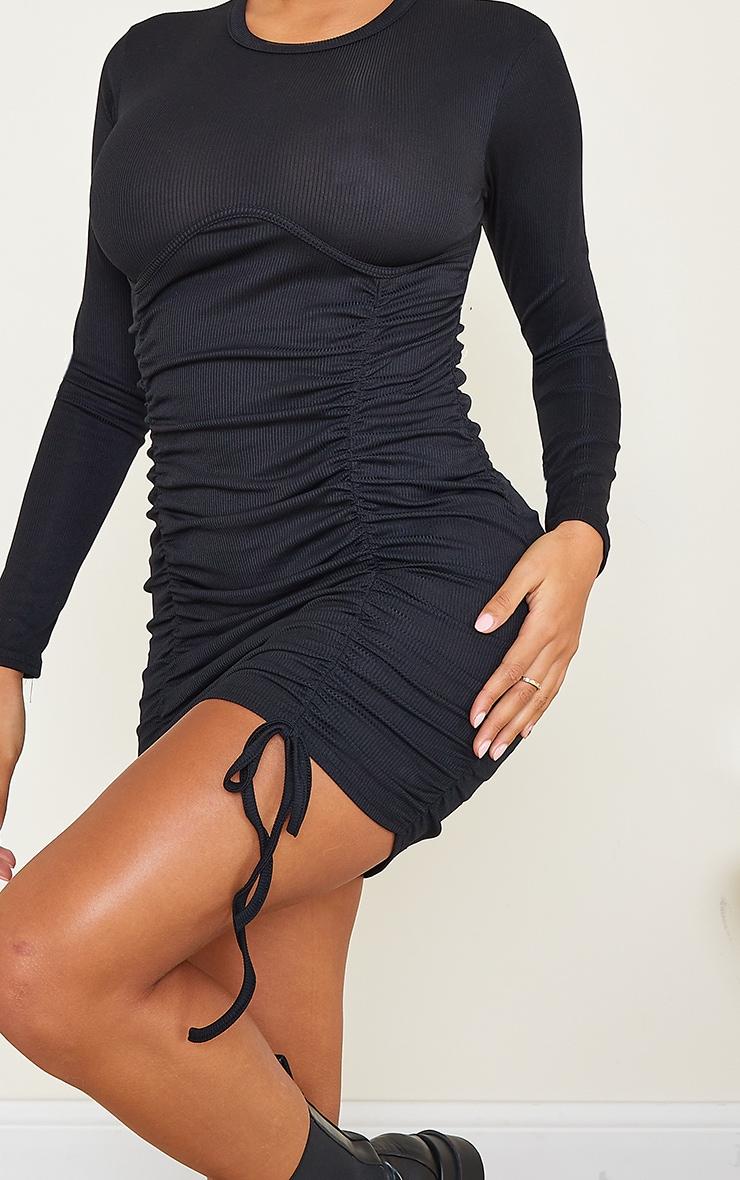 Shape Black Rib Underbust Detail Long Sleeve Ruched Bodycon Dress 4