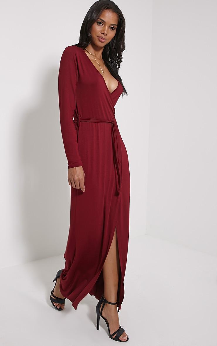 Pennie Burgundy Wrap Front Maxi Dress 3