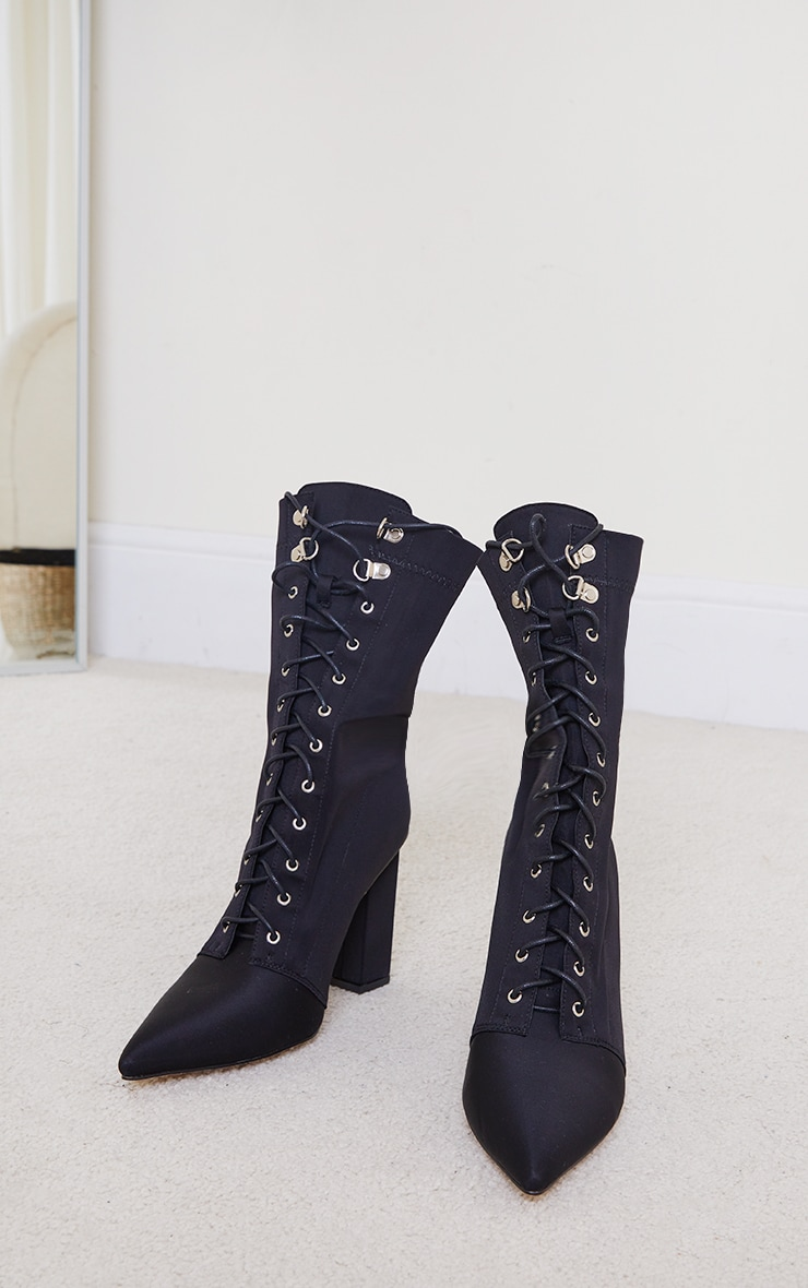 Black Lycra Lace Up Pointed Toe Block Heel Sock Boots 4