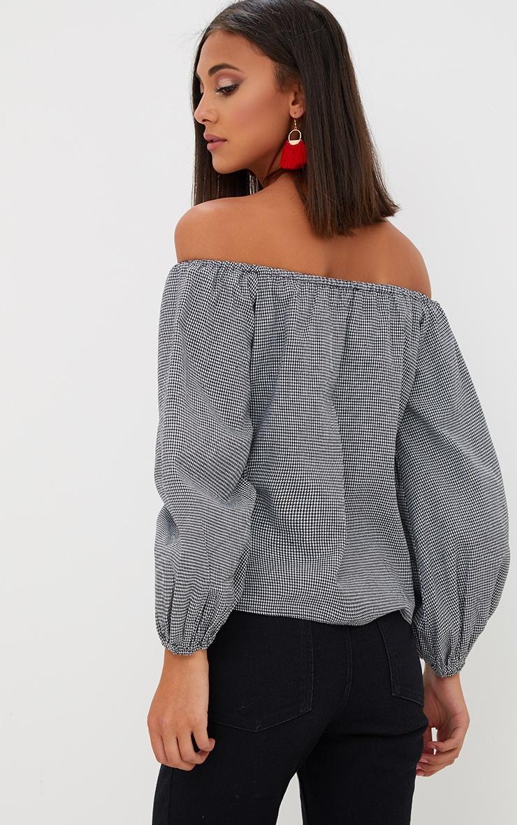 Black Dogtooth Bardot Oversized Sleeve Shirt 2