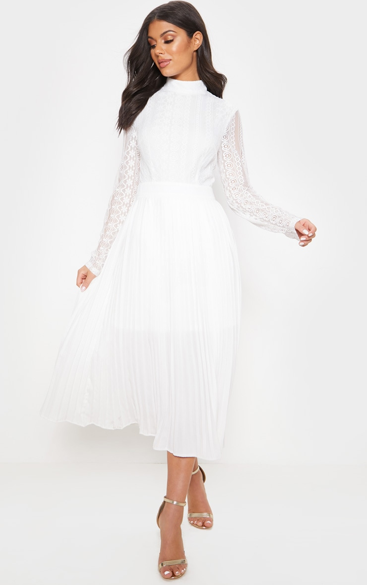 White Lace Top Pleated Midi Dress 1