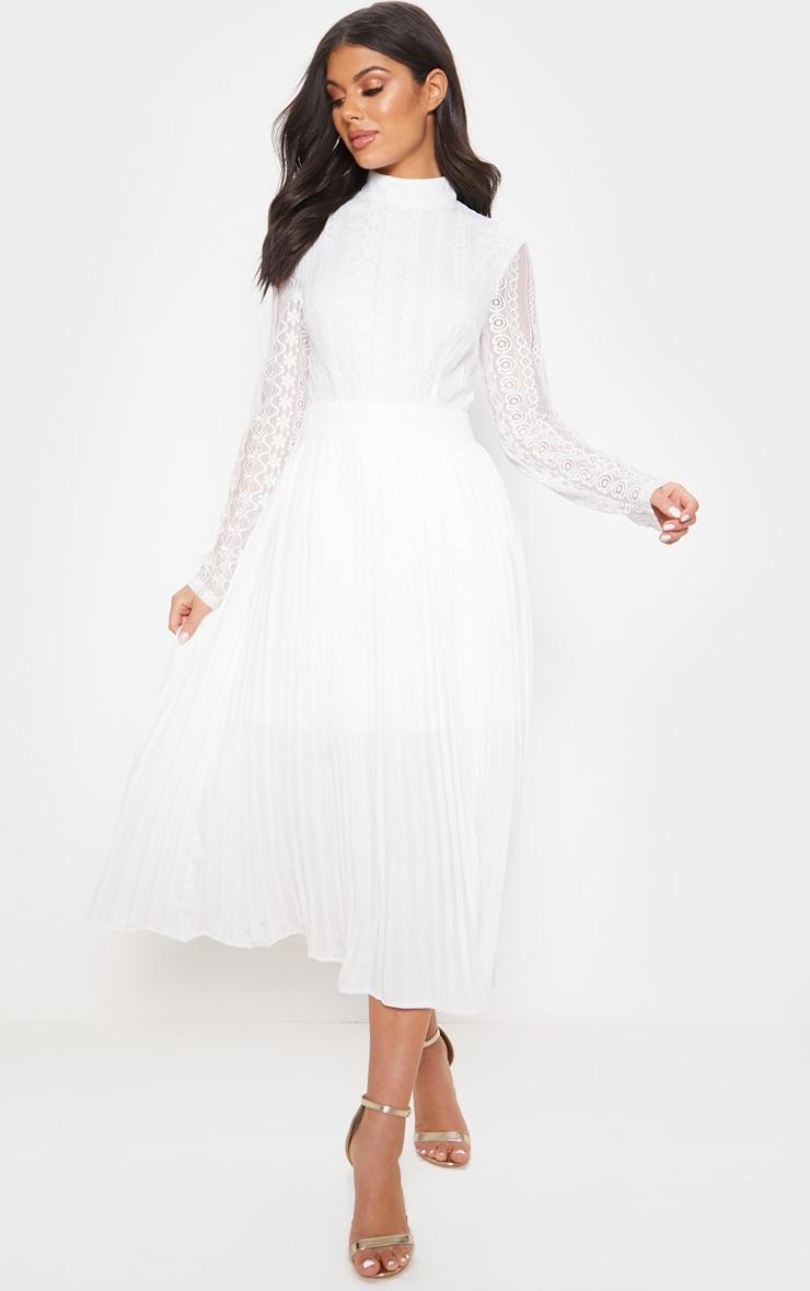 White Lace Top Pleated Midi Dress image 1