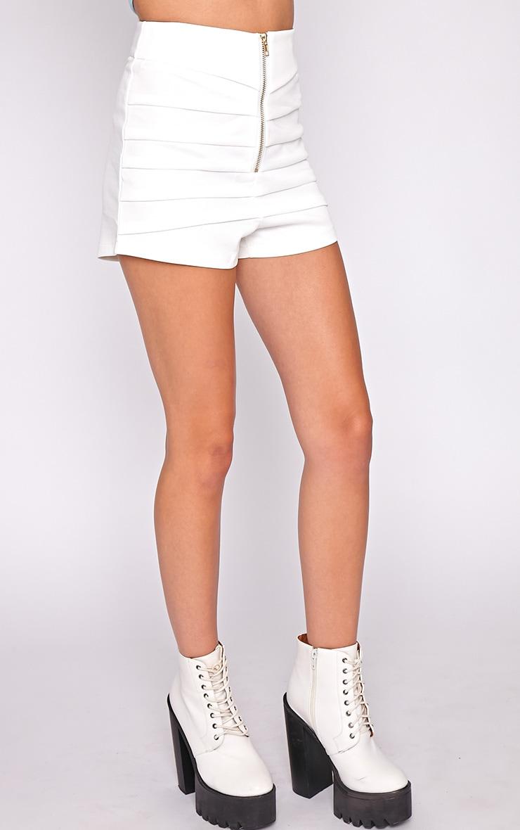 Kiana White Striped Zip Front Short 3