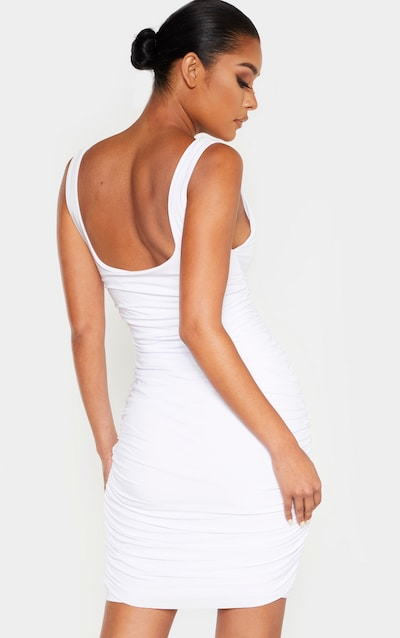 White Slinky Ruched Sleeveless Bodycon Dress