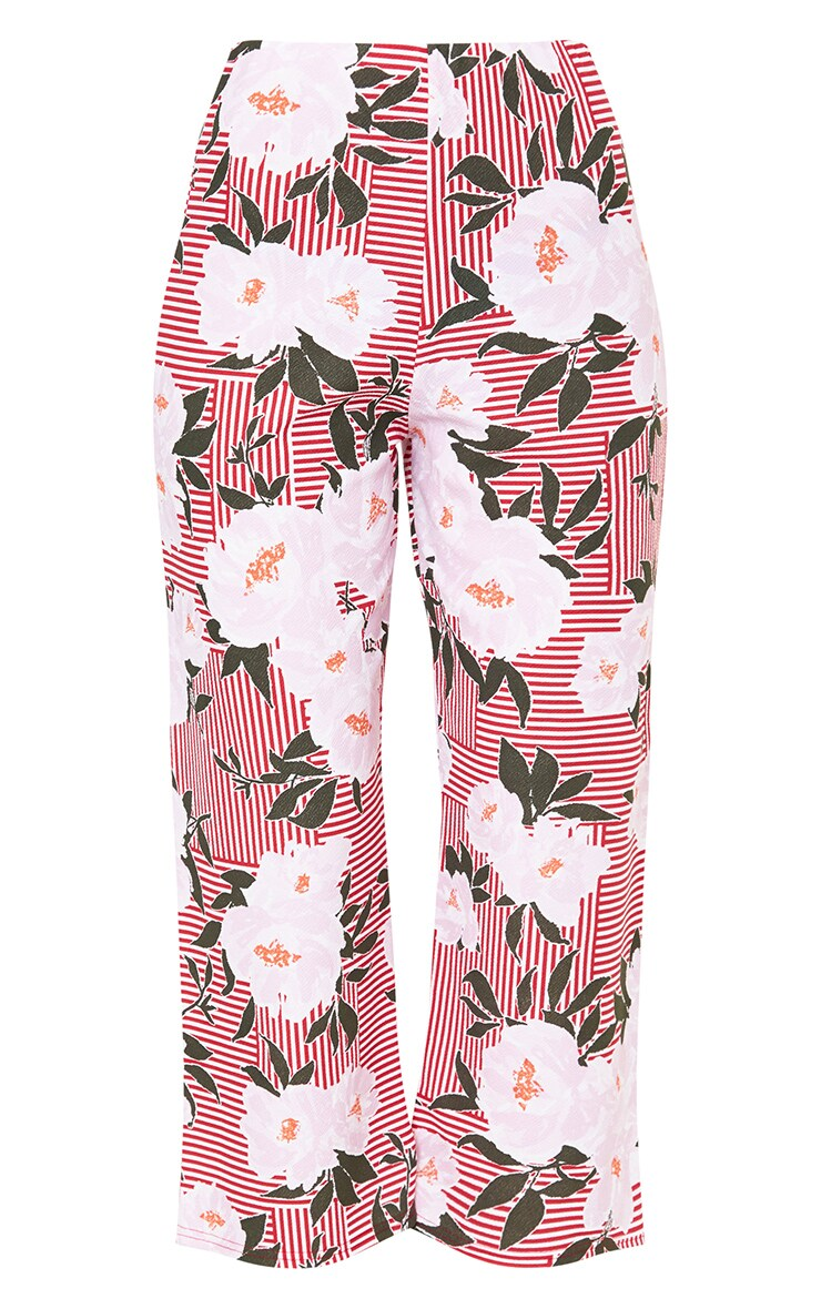 Red Stripe Floral Side Split Culottes 3