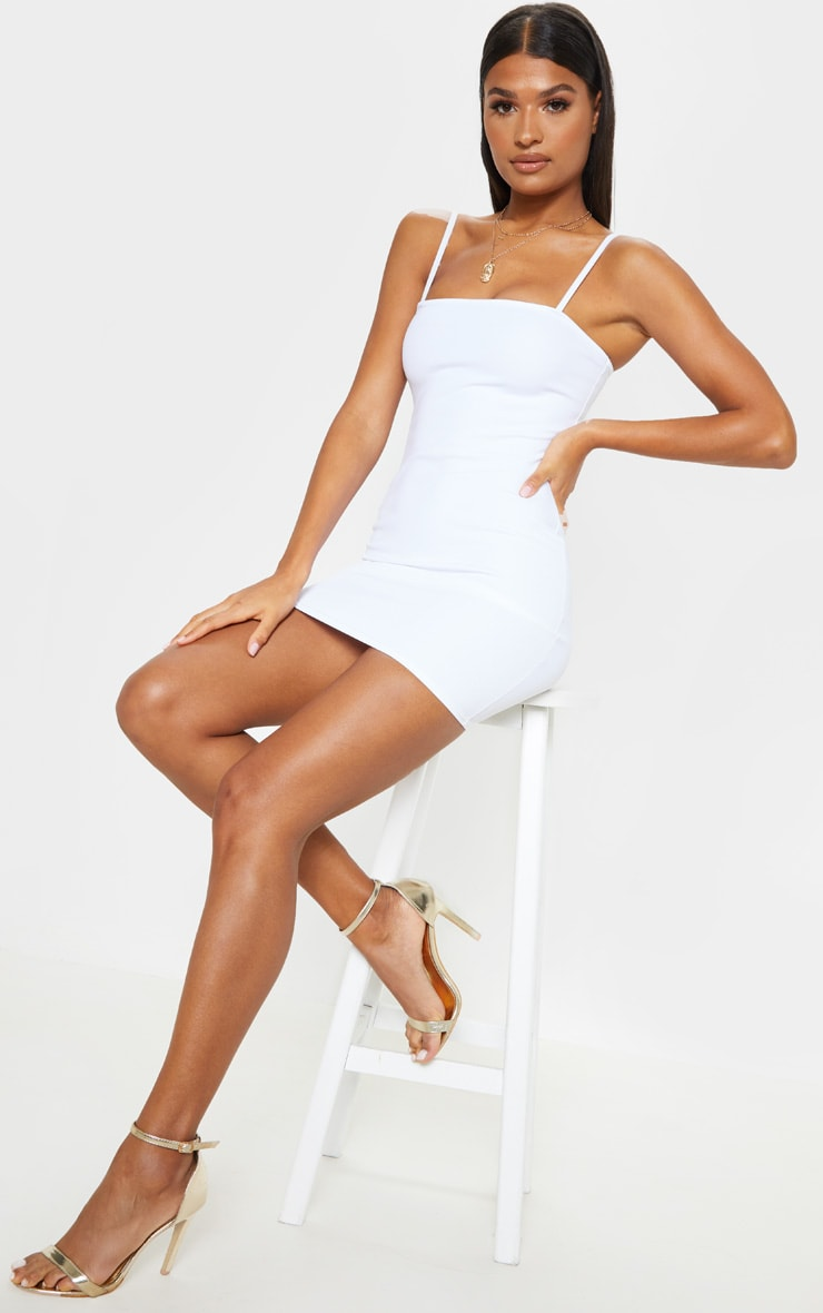 Desri White Straight Neck Bodycon Dress 1