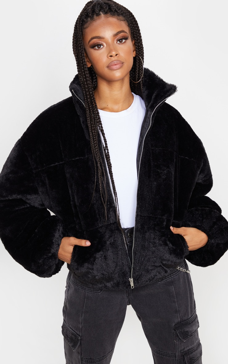 Black Faux Fur Zip Through Bomber 1