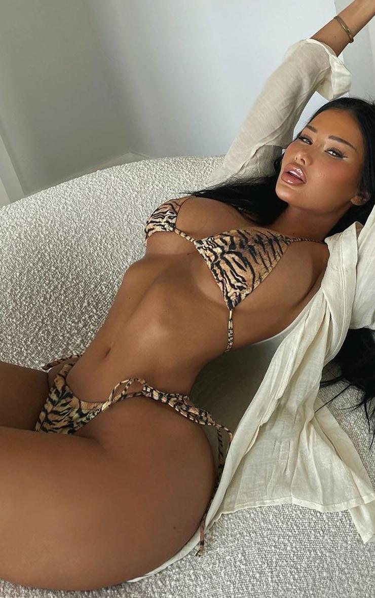 Brown Tiger Adjustable String Tie Bikini Bottoms 1