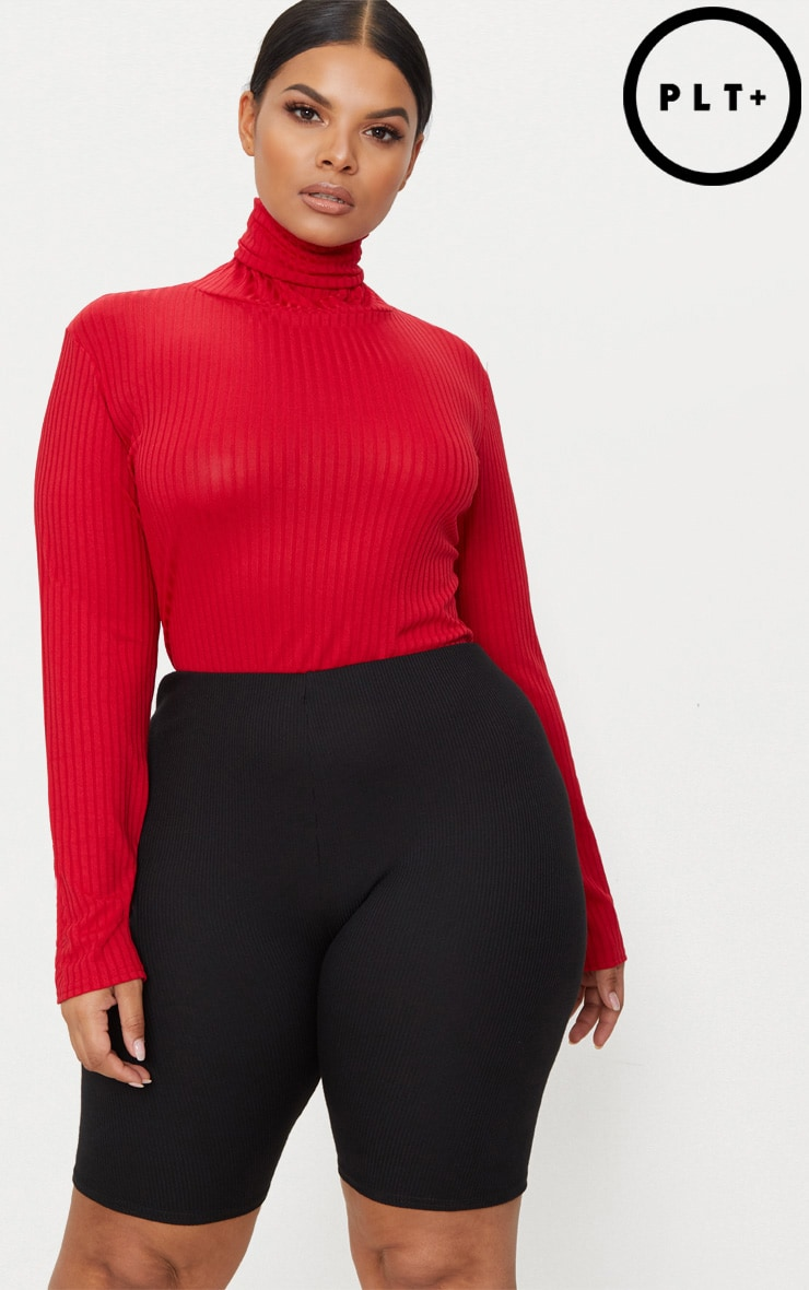 Plus Red High Neck Ribbed Bodysuit 1