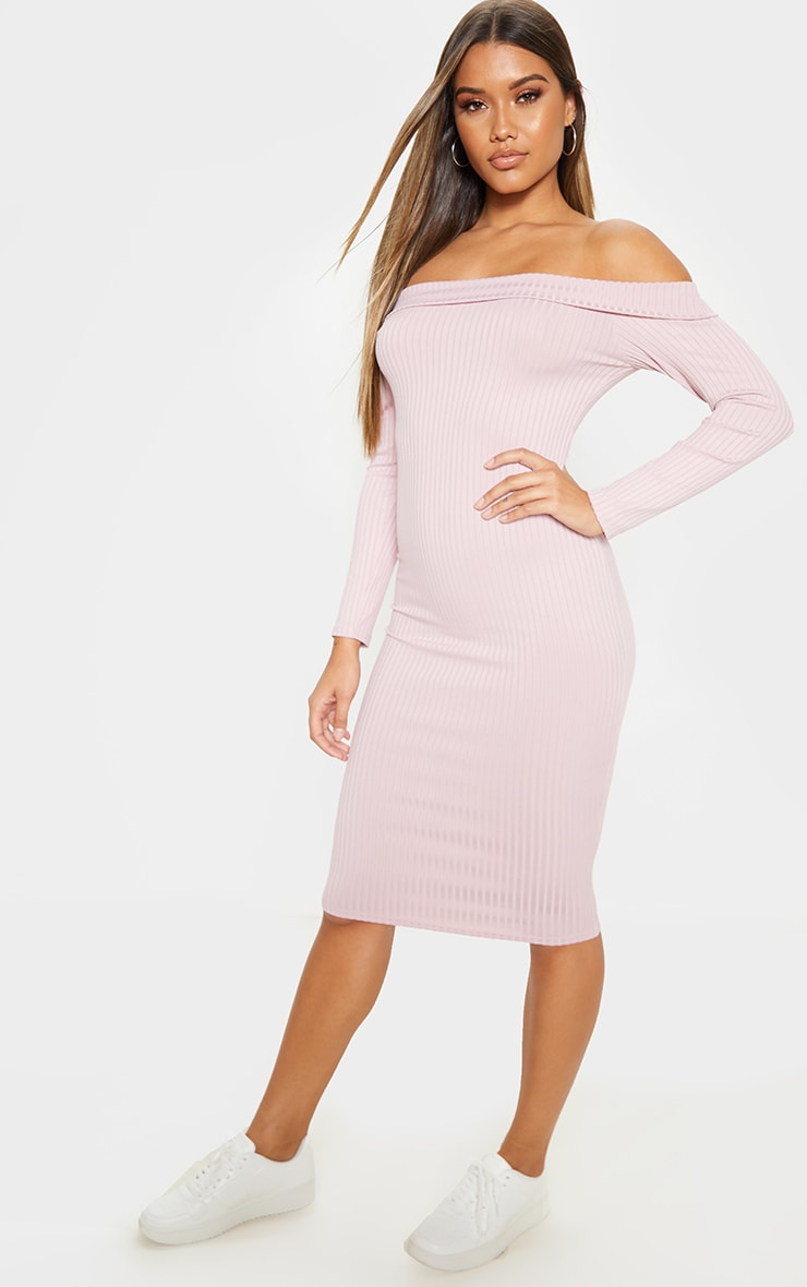 Dusty Lilac Ribbed Folded Bardot Midi Dress 4