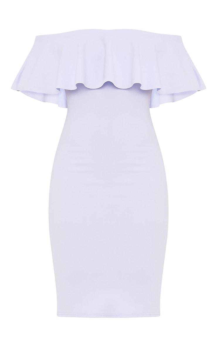 Celinea Dusty Blue Bardot Frill Midi Dress 3