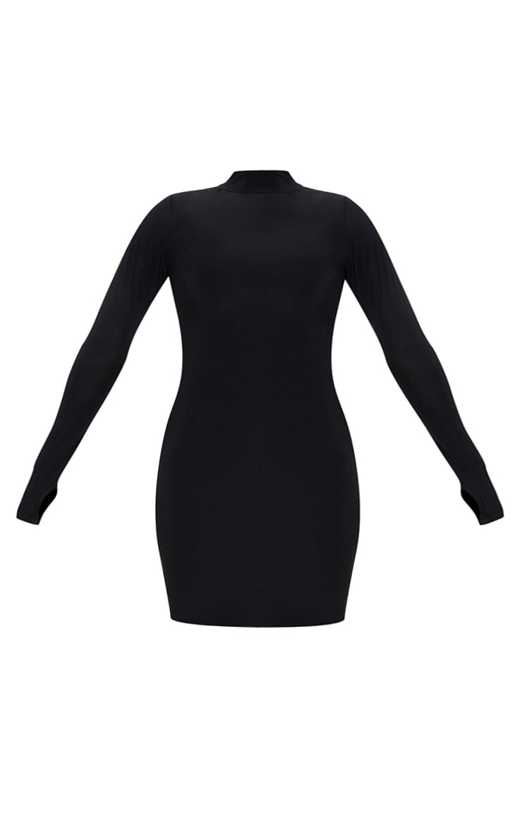 Plus Black Slinky Thumb Hole Bodycon Dress 6