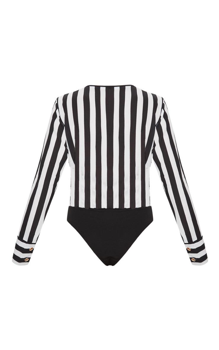 Black Monochrome Stripe Plunge Bodysuit 4