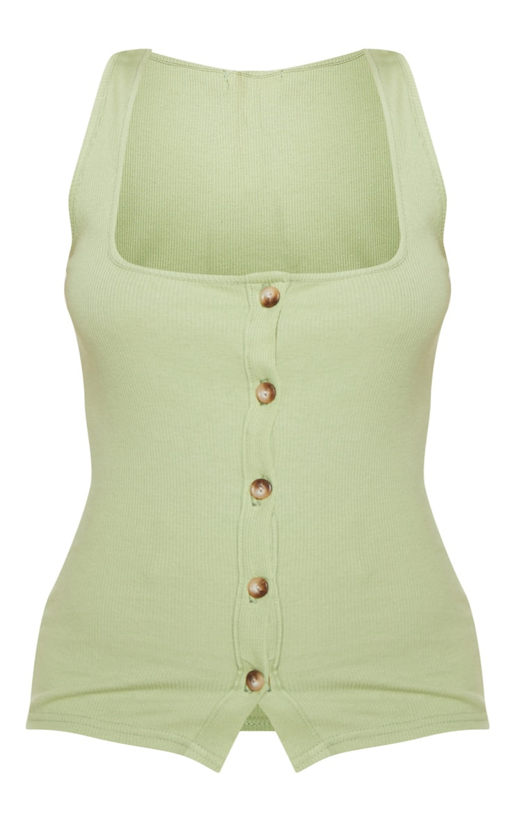 Sage Green Ribbed Button Detail Vest Top  3