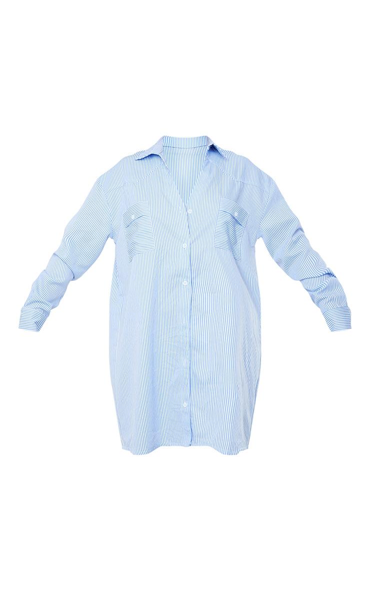 Blue Stripe Yoke Detail Button Up Oversized Shirt Dress 5