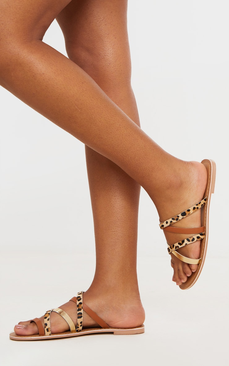 Tan Multi Cross Strap Toe Loop Mule Sandal 2