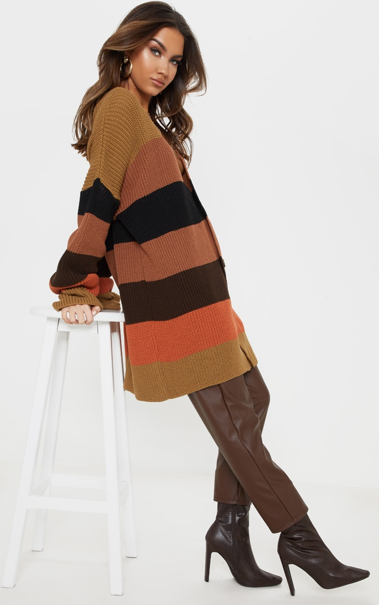 Rust Striped Knitted Cardigan 1