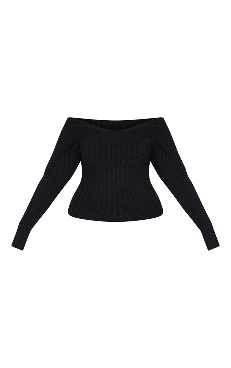Plus Black Off Shoulder Collar Detail Ribbed Jumper 5
