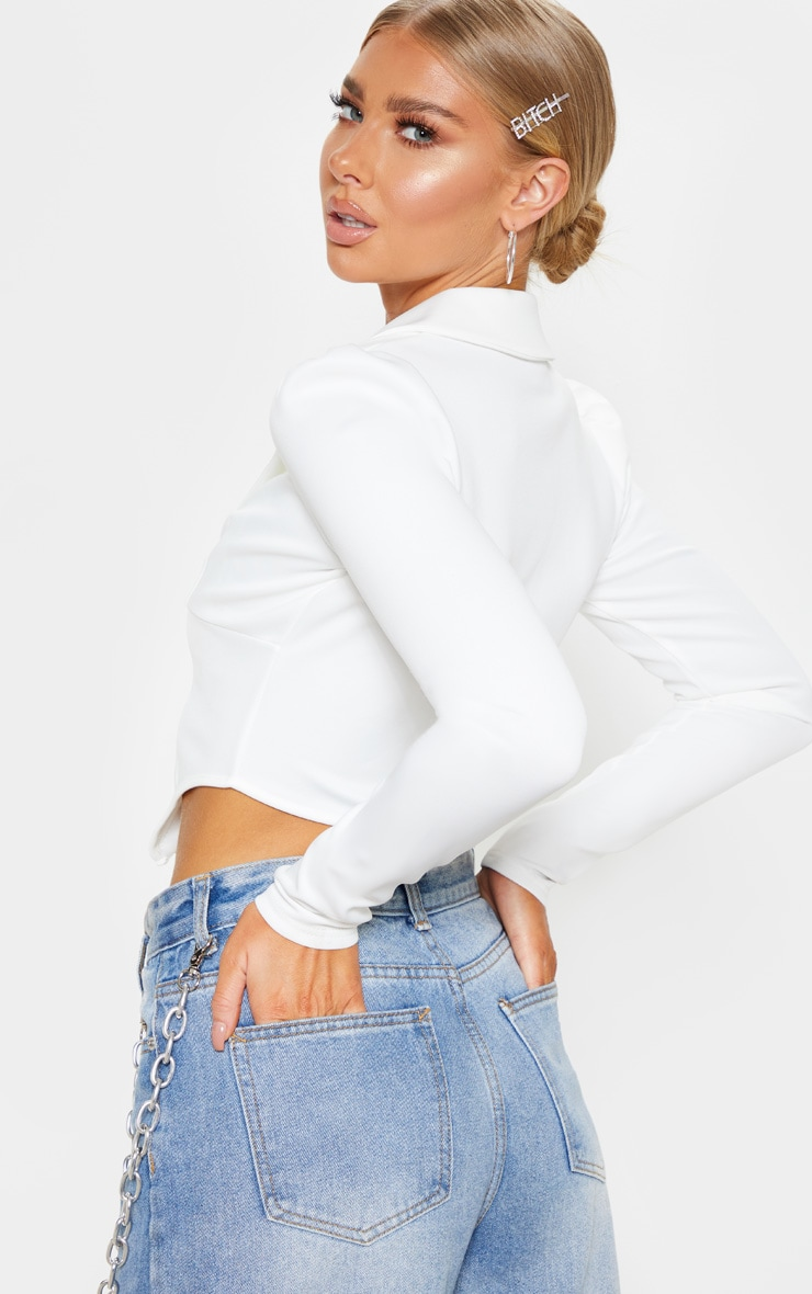 White Collar Detail Long Sleeve Cropped Shirt 2