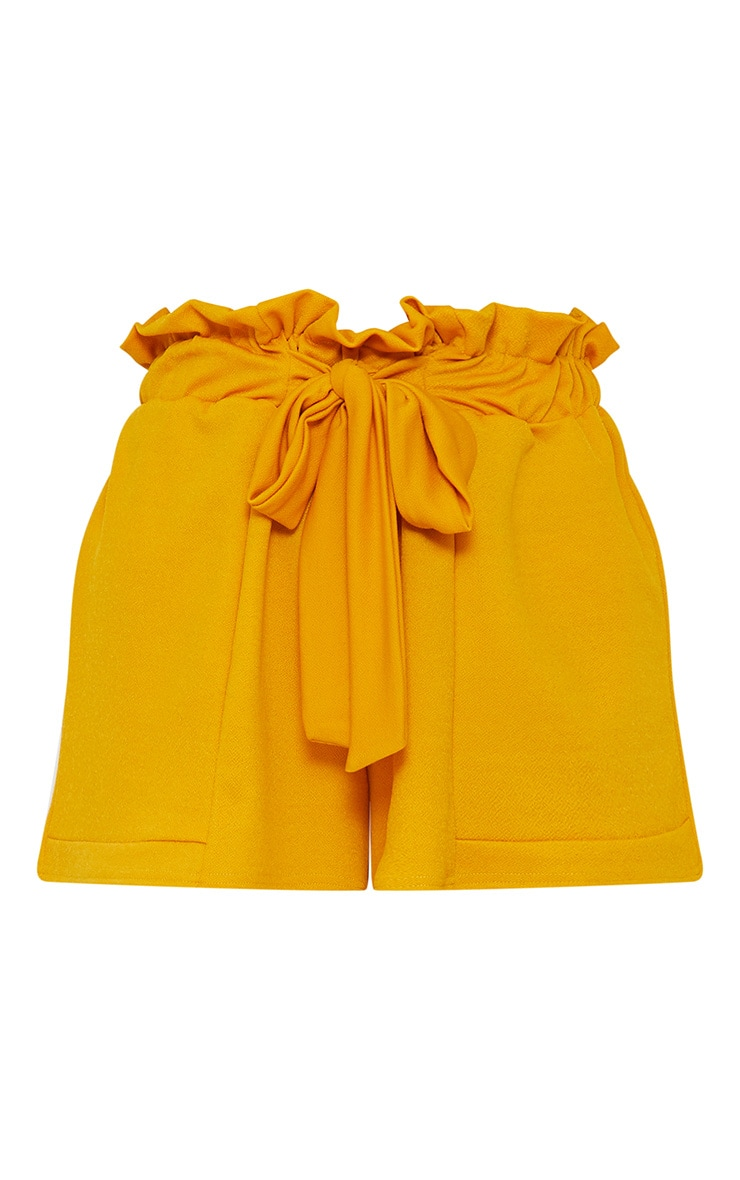 Mustard Crepe Ruched Tie Waist Shorts 3