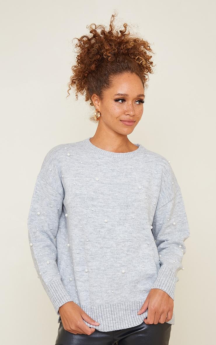 Light Grey Scattered Pearl Embellished Sweater 1
