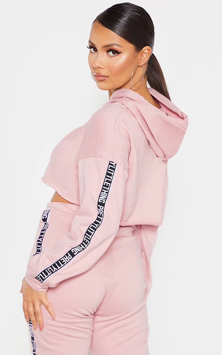 PRETTYLITTLETHING Petite Rose Cropped Hoodie 2